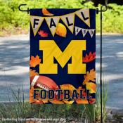 University of Michigan Wolverines Fall Leaves Football Double Sided Garden Banner