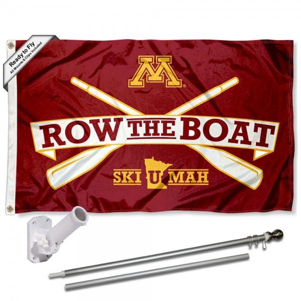 University of Minnesota Row The Boat Flag and Bracket Flagpole Set