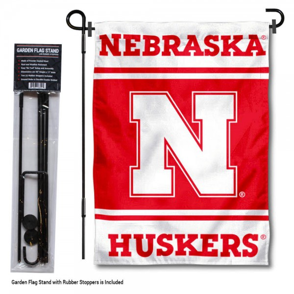 University of Nebraska Garden Flag and Yard Pole Holder Set