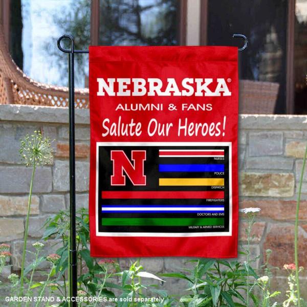 University of Nebraska Salute Our Heroes Double Sided Garden Flag
