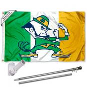 University of Notre Dame Ireland Colors Flag and Bracket Flagpole Kit