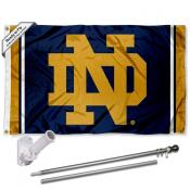 University of Notre Dame Jersey Stripes Flag and Bracket Flagpole Kit