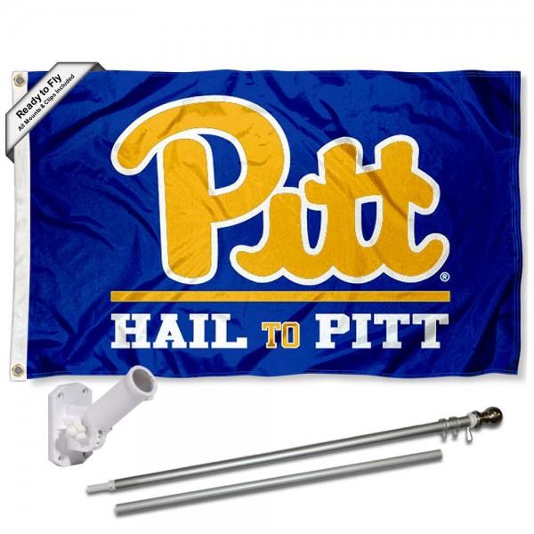 University of Pittsburgh Hail to Pitt Flag and Bracket Flagpole Set
