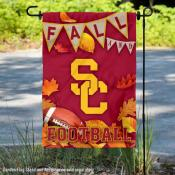 University of Southern California Trojans Fall Leaves Football Double Sided Garden Banner