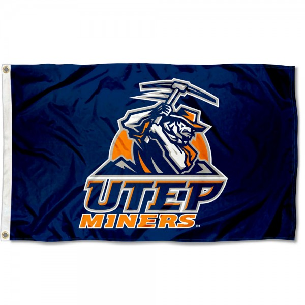 University of Texas El Paso Blue Athletic Logo Flag