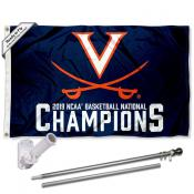 University of Virginia 2019 NCAA Basketball Naitonal Champions Flag and Bracket Flagpole Set