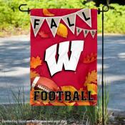 University of Wisconsin Badgers Fall Leaves Football Double Sided Garden Banner