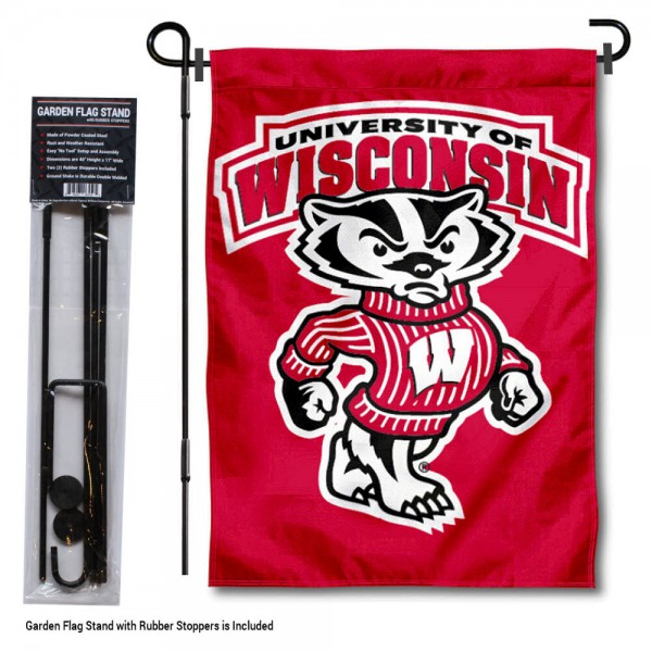 University of Wisconsin Bucky Garden Flag and Holder