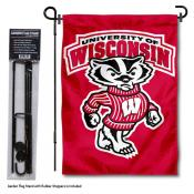 University of Wisconsin Bucky Garden Flag and Holder