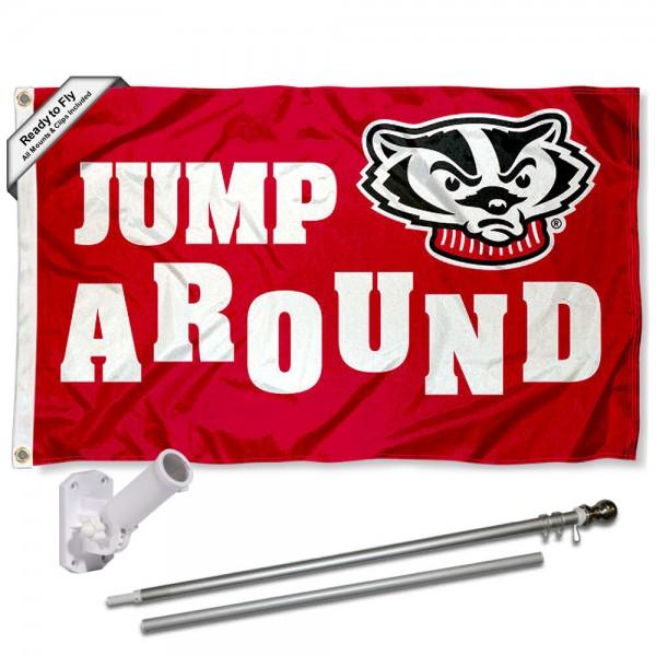 University of Wisconsin Jump Around Flag and Bracket Flagpole Set