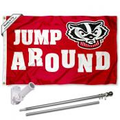 University of Wisconsin Jump Around Flag and Bracket Flagpole Set