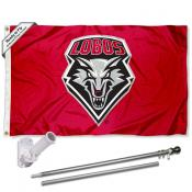 UNM Lobos Flag and Bracket Flagpole Set