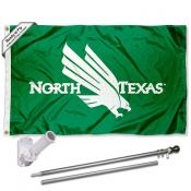 UNT Mean Green Flag and Bracket Flagpole Kit