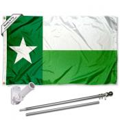 UNT Mean Green State of TX Flag and Bracket Flagpole Set