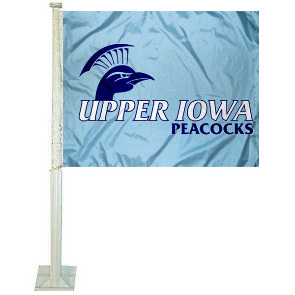 Upper Iowa Peacocks Logo Car Flag