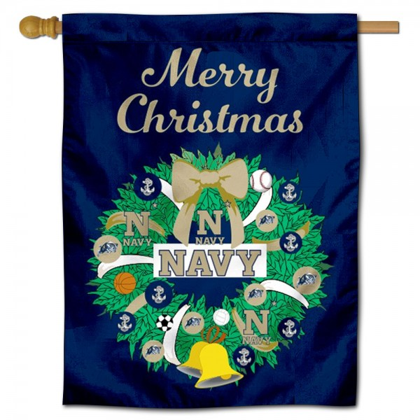 US Navy Midshipmen Christmas Holiday House Flag