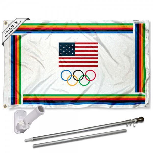 USA Olympic 3x5 Flag Pole and Mount Kit