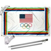 USA Olympic 3x5 Flag Pole and Mount Kit