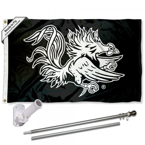 USC Gamecocks Black Flag and Bracket Flagpole Set