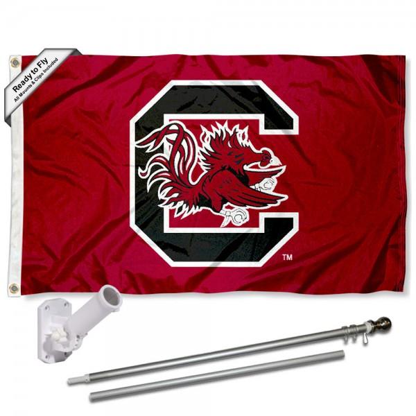 USC Gamecocks Flag and Bracket Flagpole Set