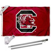 USC Gamecocks Flag and Bracket Flagpole Set