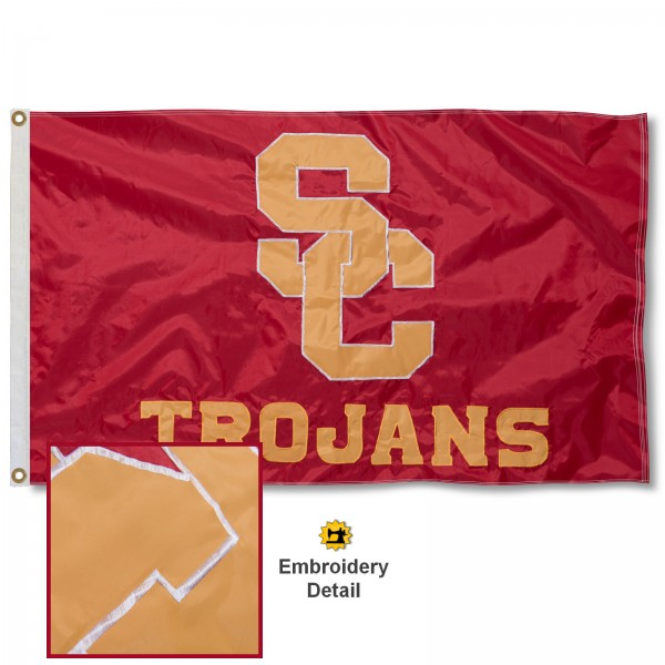 USC Trojans Appliqued Sewn Nylon Flag