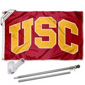 USC Trojans Arch USC Flag and Bracket Flagpole Kit