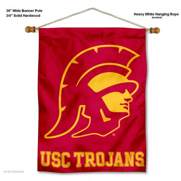 USC Trojans Banner with Pole