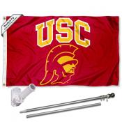 USC Trojans Head Logo Flag and Bracket Flagpole Kit