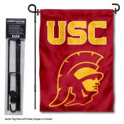 USC Trojans Head Logo Garden Flag and Yard Pole Holder Set
