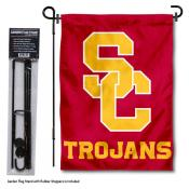 USC Trojans SC Interlock Logo Garden Flag and Yard Pole Holder Set
