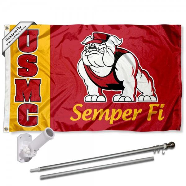 USMC Semper Fi Flag and Bracket Flagpole Kit