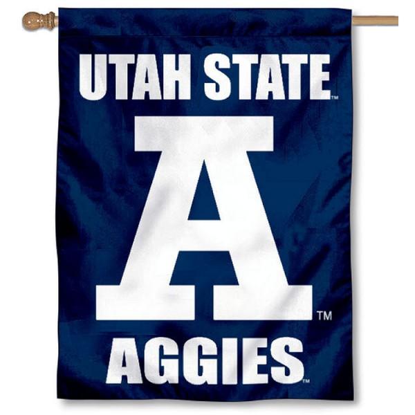 Utah State Aggies Block A House Flag