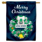 Utah State Aggies Christmas Holiday House Flag
