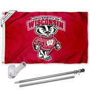 UW Badgers Bucky Badger Flag and Bracket Flagpole Set