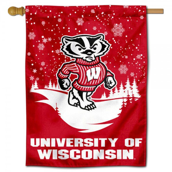 UW Badgers Bucky Badgers Winter Banner Flag