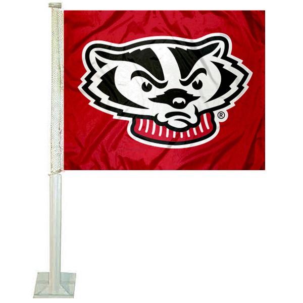 UW Badgers Bucky Head Car Flag