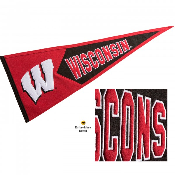 UW Badgers Embroidered Wool Pennant