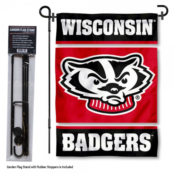 UW Badgers Garden Flag and Holder
