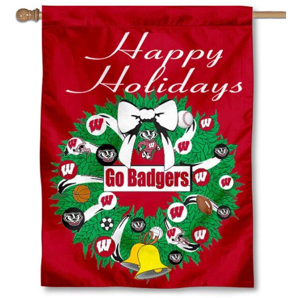 UW Badgers Holiday Flag