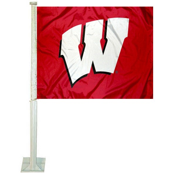 UW Badgers Motion W Car Flag