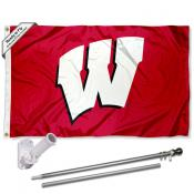 UW Badgers Red Motion W Flag and Bracket Flagpole Kit