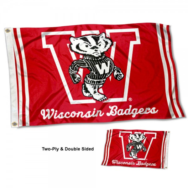 UW Badgers Vintage Two Sided 3 by 5 Foot Flag