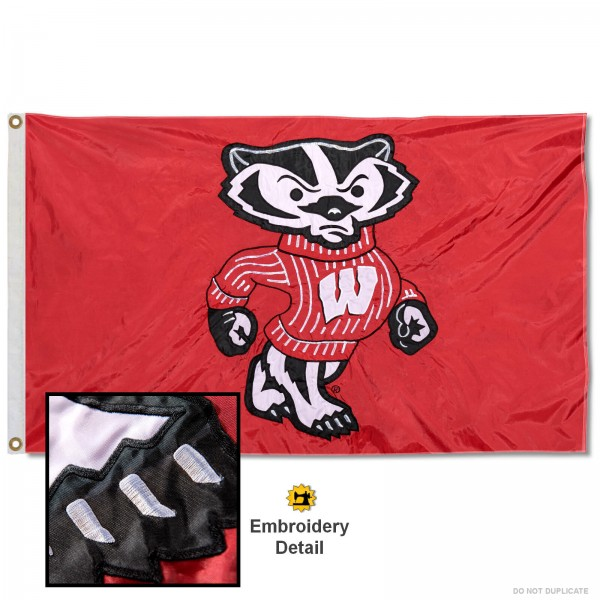 UW Bucky Badger Appliqued Nylon Flag