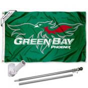 UW Green Bay Phoenix Flag and Bracket Flagpole Kit