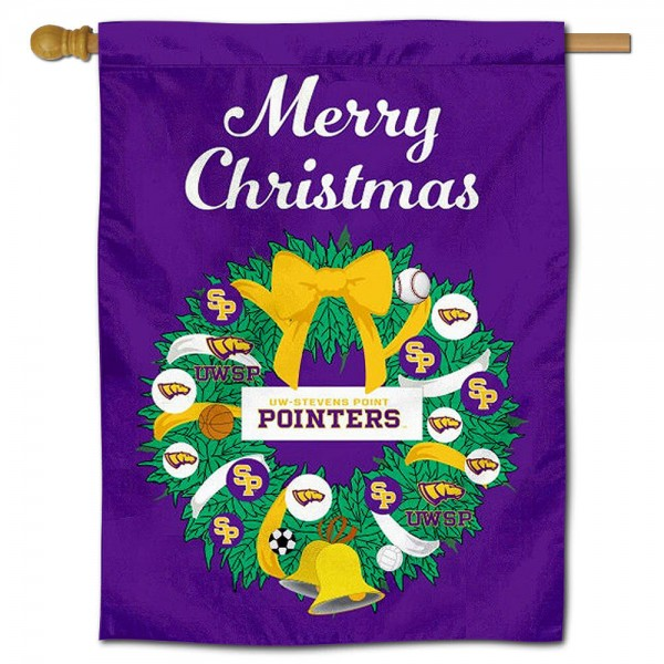 UW Stevens Point Pointers Christmas Holiday House Flag