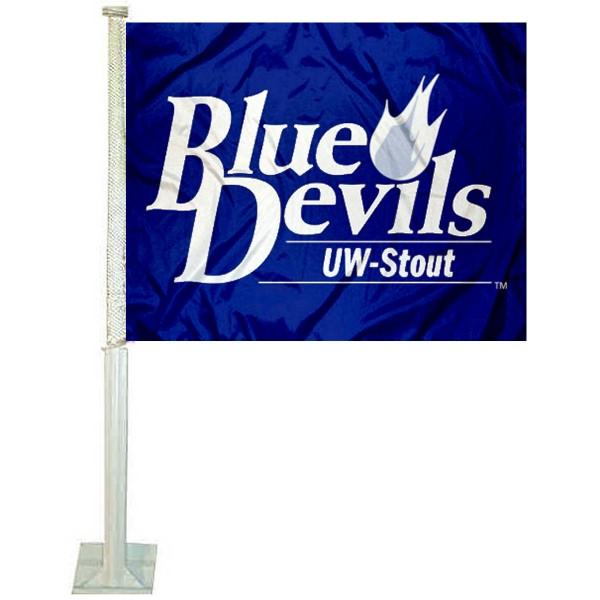 UW Stout Blue Devils Car Flag