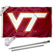 VA Tech Hokies Flag and Bracket Flagpole Set