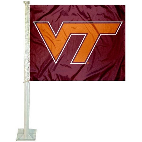 VA Tech Hokies VT Logo Car Flag