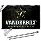 Vanderbilt Commodores Flag and Bracket Mount Flagpole Set